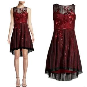 NWT Parker Abba Sequin High-Low Dress in Rosewood